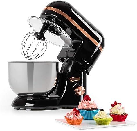 Klarstein Bella Elegance - Robot de cocina, Potencia 1300W/1,7PS, 6 niveles, Función pulso, Sistema de amasado planetario, 5 L, Cuenco acero inoxidable, Inclinación, Bloqueo de seguridad, Negro: Amazon.es: Hogar
