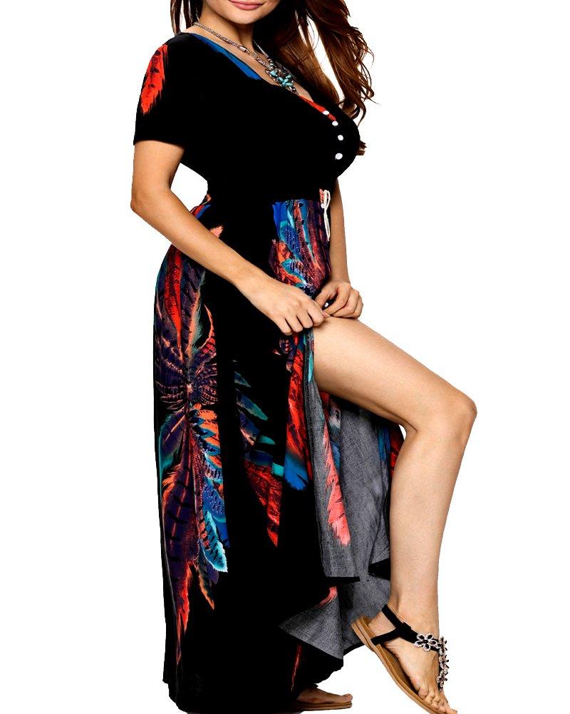 Roiii Women Vintage Phoenix Print Split Summer Beach Short Sleeve V Neck Long Maxi Dress Size 6-24 (3X-Large, Black)