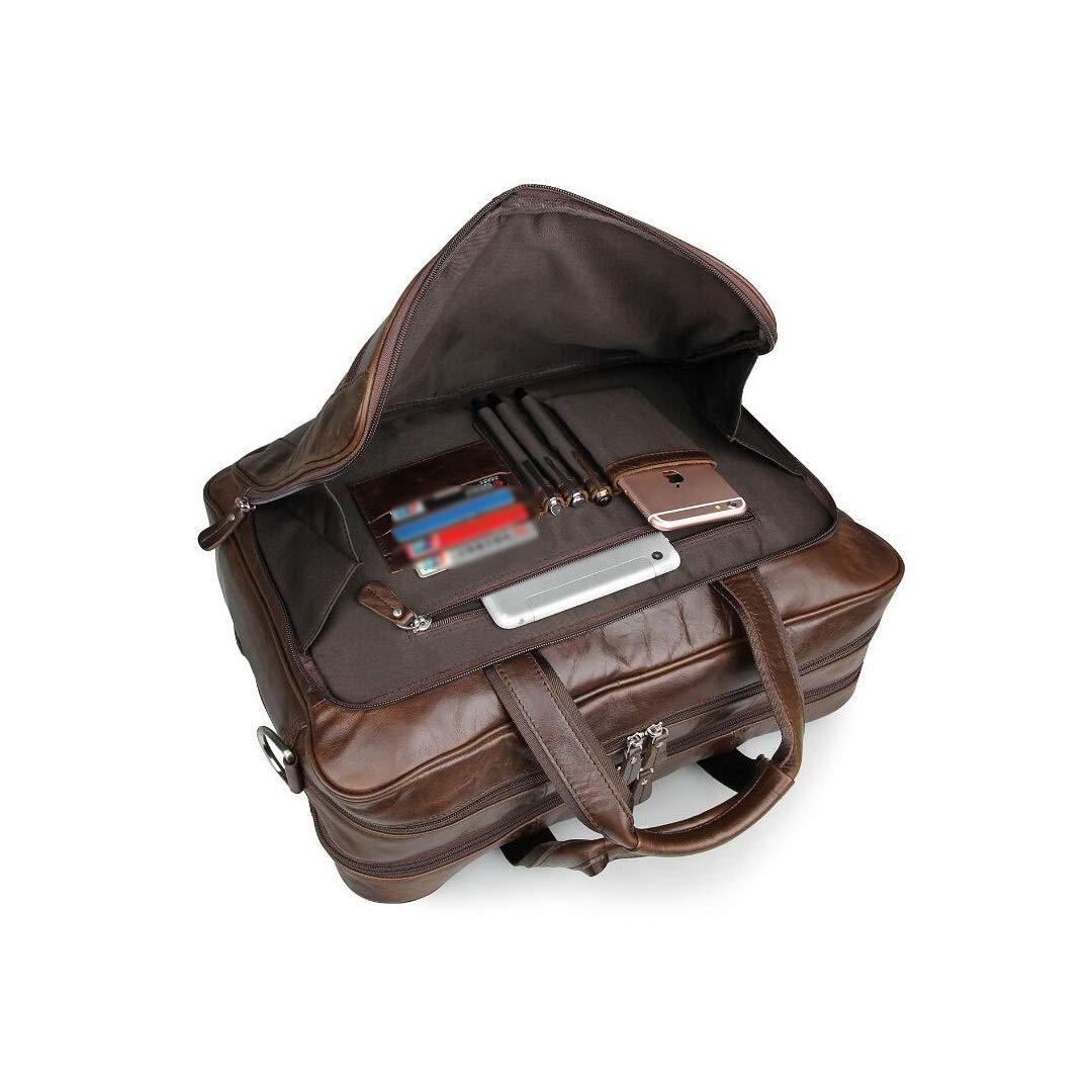 MKJYDM Vintage Leather Mens Bag Business Bag Briefcase Large Handbag 17 Inch Computer Bag Brown 43x15x30.5cm Briefcase