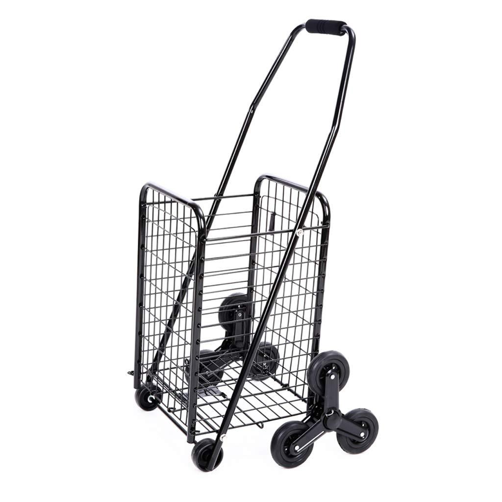 GAOYANG ショッピングカートを折りたたむ、 階段クライミングカート、 スーパーマーケットポータブル ショッピングカートレバー、ショッピングカート用トロリーバッグ、階段クライミングツールカート、スーパーマーケットポータブルショッピングカートトロリー,スクロールで ホイールを回転させるホイールと、 ブラック(40 * 46.5 * 86cm) B07GZS7SK1 黒 8 rounds