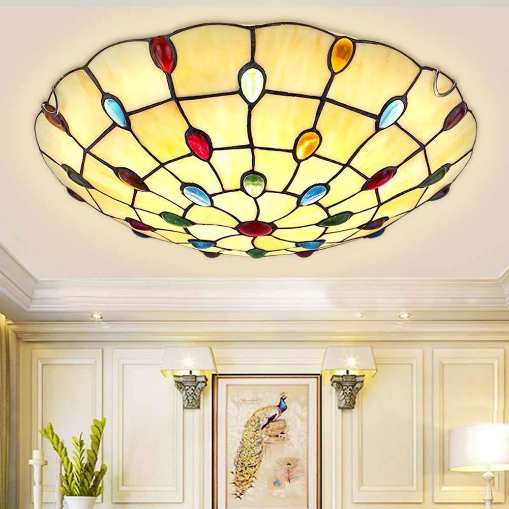 ティファニースタイルの天井灯、12インチヨーロッパのクリエイティブステンドグラスの天井ランプ、地中海は、寝室の廊下30/40 / 50CMのための光を引 30 Whitelight B07RYZVG7X