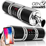 GoldenHawk Waterproof Bluetooth Wireless Motorcycle Stereo Speakers 7/8-1.25 in. Handlebar Mount MP3 Music Player Audio Amplifier System Scooter Bike ATV UTV Jet Ski, AUX IN, USB, microSD, FM Radio