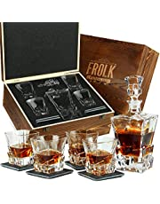 Whiskey Decanter and Glass Set - Whisky Glasses Sets for Men - 4 Extra Large Scotch Rocks Glasses with Rocks Decanter and Stone Coasters - Bourbon Decanter Gift Set for Men - Home Bar Set in Box