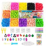 NEFUTRY Rubber Band Loom Refills-5800 Loom Bracelet Making Kit, 12 Colors, 2 Y Shape Loom, 1 Loom Monster Tail, 1 Big Hook, 6 Small Hook, 4 Packs S-Clips, 20 Charms, 2 Packs Beads