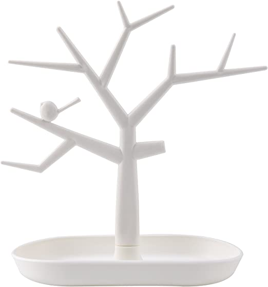 Amazon Com Chezmax Tree Design Jewelry Display Tower Necklace Earring Bracelet Holder Organizer Stand White Home Kitchen