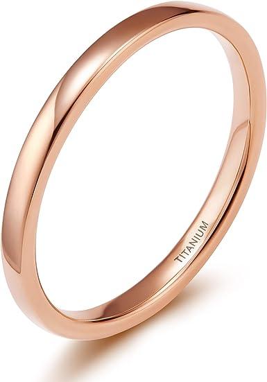 Women 14K Rose Gold 2mm Wedding Ring High Polish Classic Domed Wedding Band