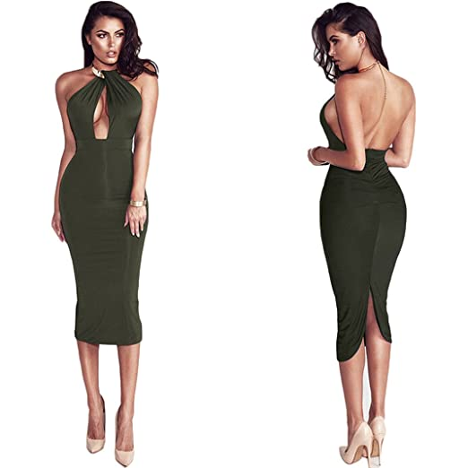 372dc83986c Tomblin Women s Sexy Chocker Halter Cut Out Backless Bodycon Bandage Club  Party Evening Midi Dress (
