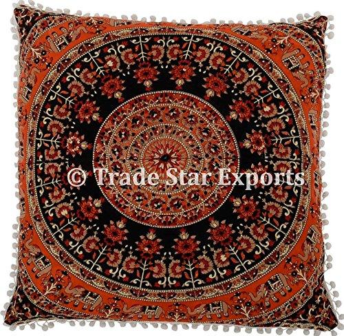 euro-sham-pillow-cover-with-pom-pom-lace-decorative-floor-cushion-26-ethnic-cotton-mandala-cushion-c