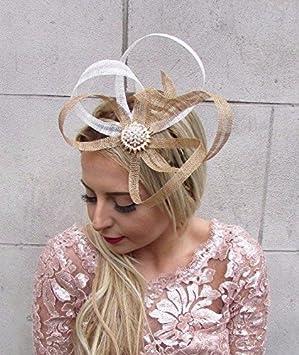 Gold Ivory White Cream Sinamay Fascinator Headband Races Hair Band Vtg 4537 9938be87441