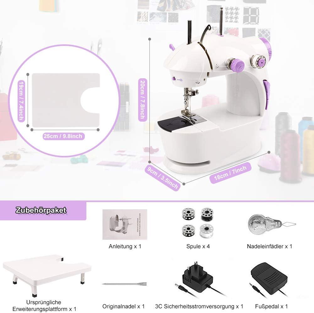 HALOVIE Mini Máquina de Coser Portatil y Versátil con Gran Mesa de Costura Pedal Eléctrico Fácil de Usar y Práctica Electrodomésticos para Principiantes Niños DIY ...