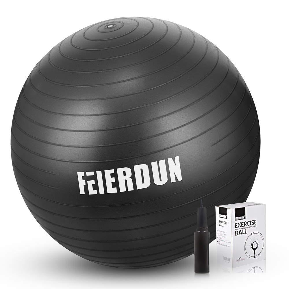FEIERDUN Fitness Health Exercise Ball Heavy Duty Birthing Ball Anti-Burst/Slip Yoga Ball with Quick Pump for Office/Home/Gym Abdominal Training