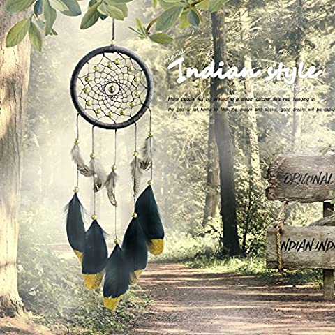 Dream Catcher,AuroTrends Handmade Circle-shaped with Feathers Wall Hanging Decoration Ornament for Car ,Home ,Bedroom (Comes with a FREE Cute Key (Indian Gold Ornaments)