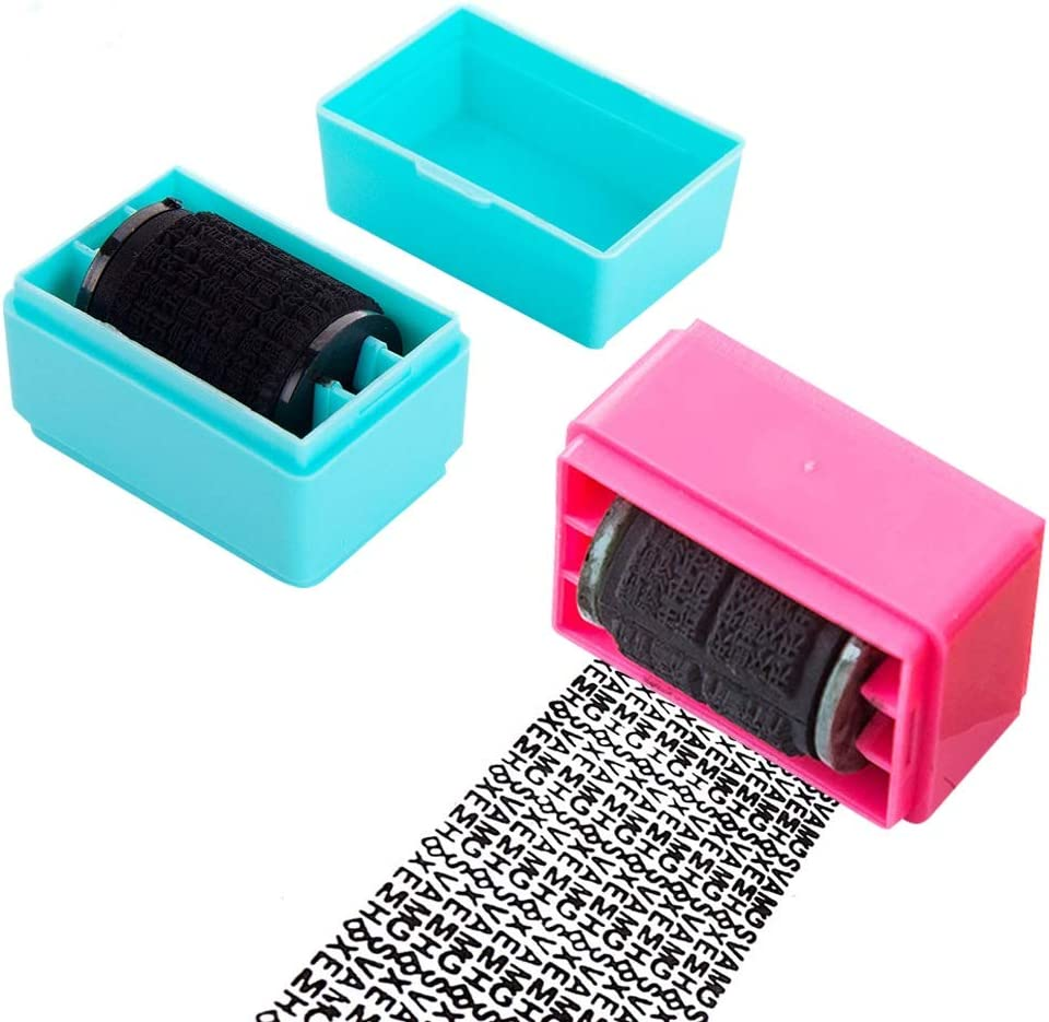 Roller Stamp Identity Protection Roller Stamp 2Pcs Wide Roller Identity Theft Prevention Security Stamp Rolling Identity Theft Guard Stamp