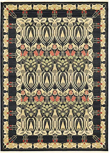 Unique Loom Edinburgh Collection Oriental Traditional French Country Black Area Rug (8' 0 x 11' 0)