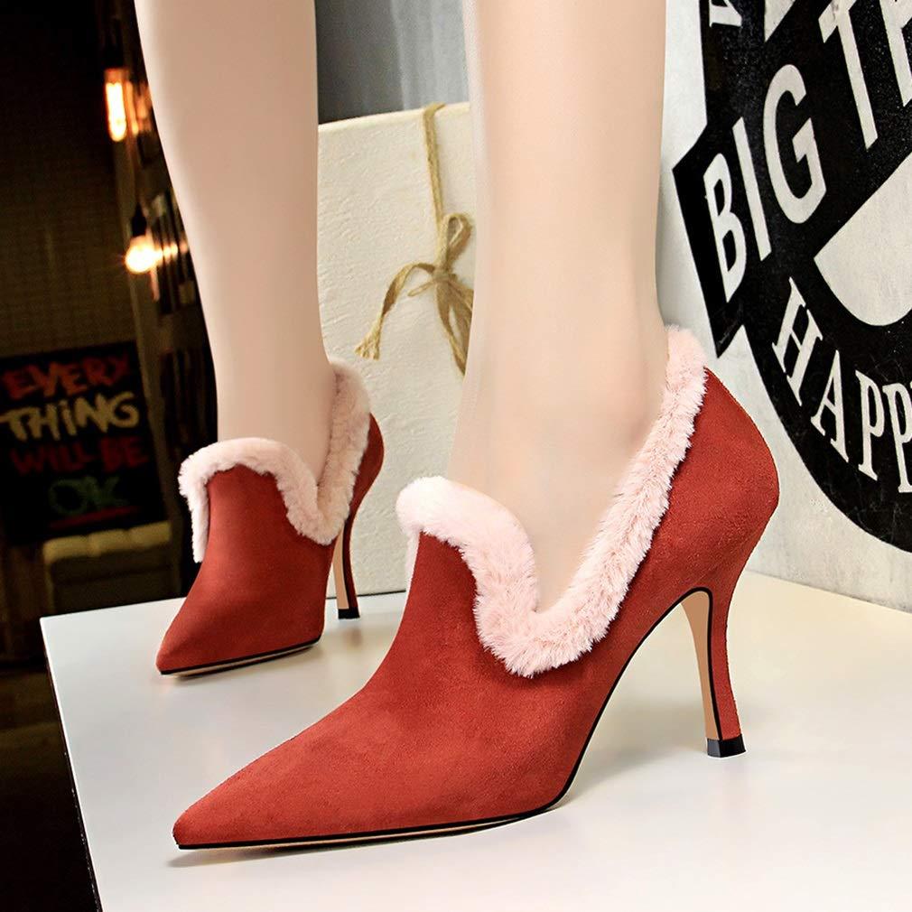 YAN Damenschuhe Herbst Winter Wildleder Wildleder Wildleder Mode Weinglas Ferse Schuhe wies tiefen Mund Schuhe Wanderschuhe Schuhe bd99f9