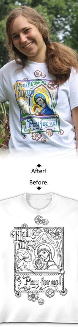 Arts /& Craft Kit Colorable T Shirt with Markers Child S Hail Mary