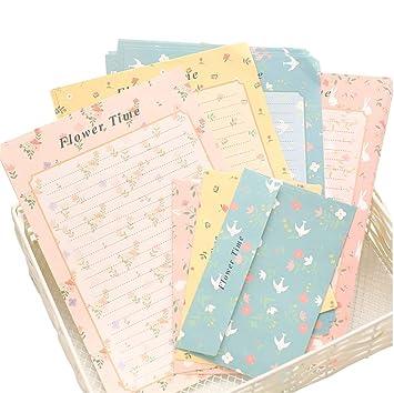 4 sobres de colores surtidos con estampado de flores y papel ...