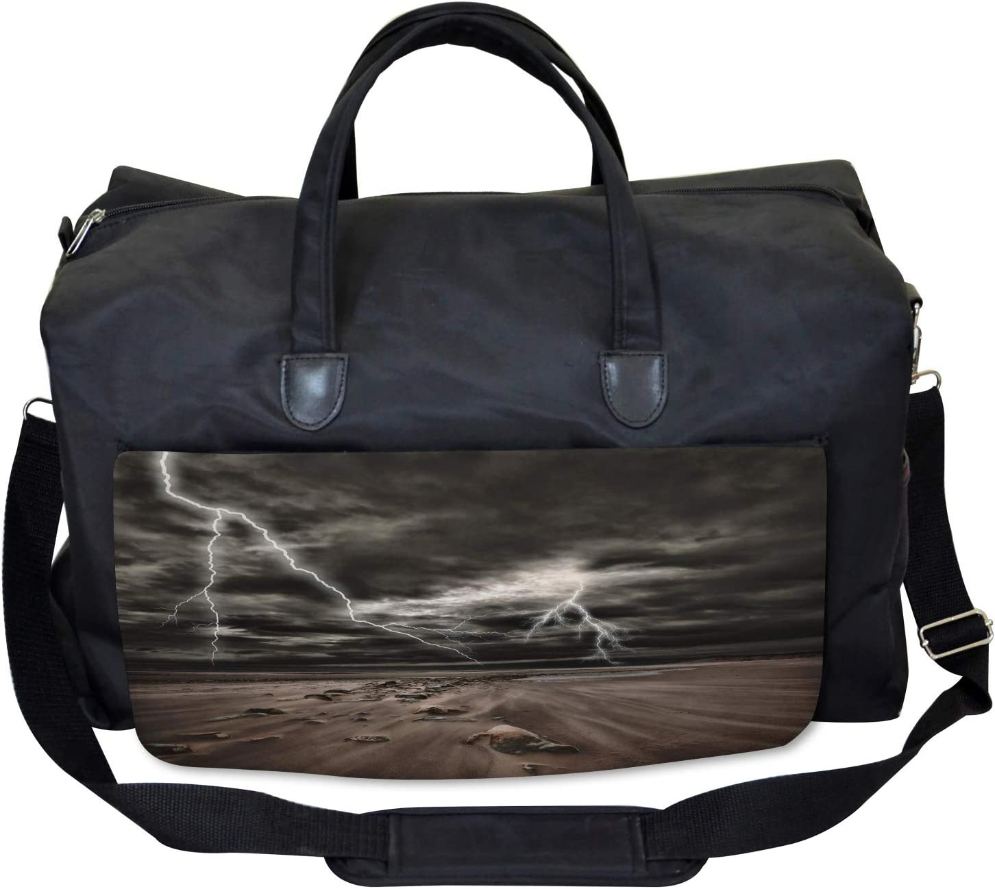 Ambesonne Nature Gym Bag Large Weekender Carry-on Flashes Sandy Beach
