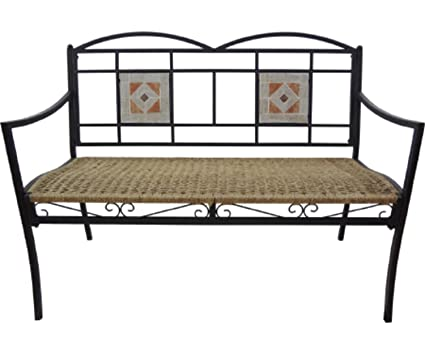 "Christmas Central Exclusive 45"" All-Weather Art Deco Inspired Outdoor  Wicker Garden Bench with - Amazon.com : Christmas Central Exclusive 45"