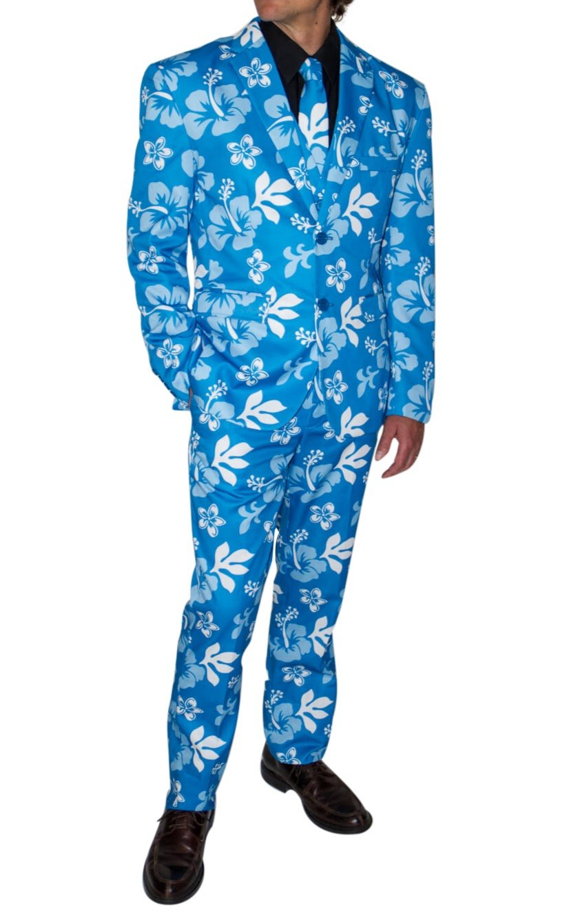 Stir Clothing Co. Big Kahuna Mens Hawaiian Floral Print Party Suit With Adjustable Hem Tape (38, Blue Hibiscus)