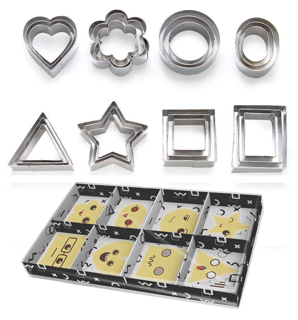 ShengHai Cookie Cutters Set -24 Pieces Biscuit Cutters -3 Hearts Shape, 3 Stars Shape, 3 Flowers Shape and 15 Geometric Shape, Stainless Steel Pastry Cutters, Perfect Gift Idea