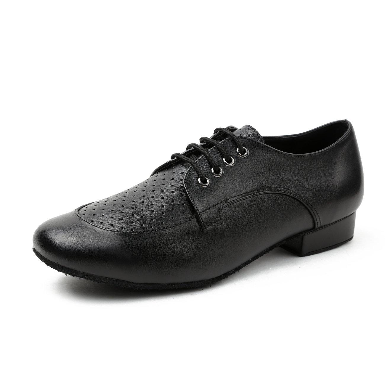 Minishion Boy's Men's Breathable Black Leather Latin Salsa Ballroom Dancing Shoes Formal Dress Shoes US 9.5