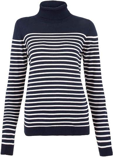 Jersey de algodón puro para mujer con cuello redondo Bretón a rayas: Amazon.es: Ropa y accesorios