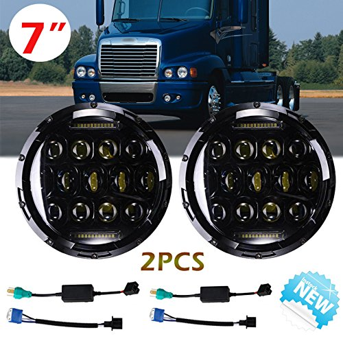 7 Inch For Freightliner Century LED Round Headlights Hi/Lo Double Beam DRL Driving Lamp Replacement 75W 6000K H5024 5024 6012 6014 6015 H6017 H6024 2PCS