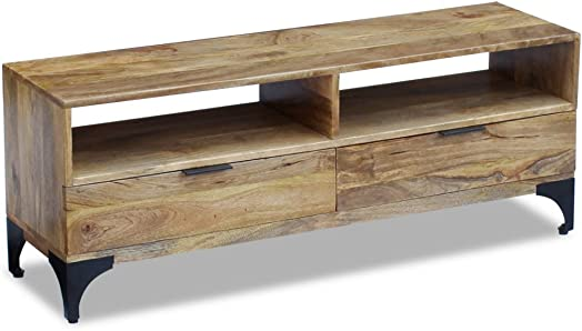 Festnight Mango Wood TV Side Cabinet Console Table with 2 Drawers and Strong Steel Legs. 47.2 x 13.8 x 17.7