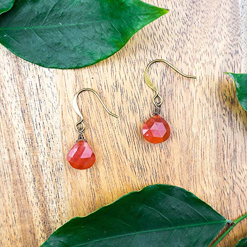Labradorite crystal teardrop dangle earrings in bronze ()