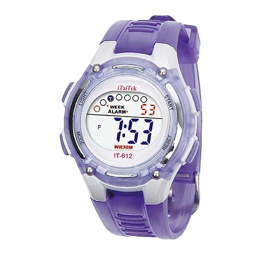Tongshi Niños Niños Niñas Natación Deportes Digital reloj impermeable Nuevo (Morado)