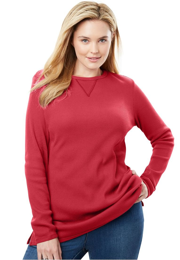 Women's Plus Size Top, Sweatshirt in Soft, Colorful Thermal Knit Fresh Red,L
