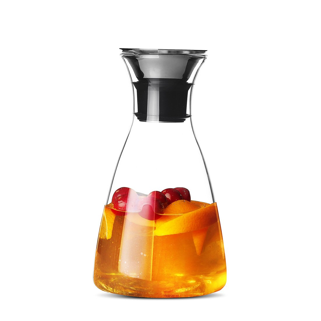 JIAQI 1 Litre Water Carafe Glass Pitcher with Stainless Steel Flow Lid, Borosilicate Water Jug for Hot/Cold Water, Coffee, Ice Tea, Juice Beverage, Decanting and Serving Wine QLYGYBL070