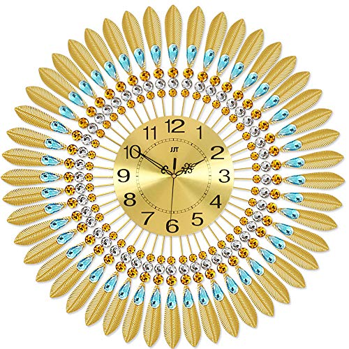 KINBEDY 28 LuxuryCrystal Bohemian Peacock Style Metal Modern Wall Clock with Silent Movement 10 Metal Dial Large Sunburst Big Fancy Decorative Clock for Living Room, Bedroom, Office Space.