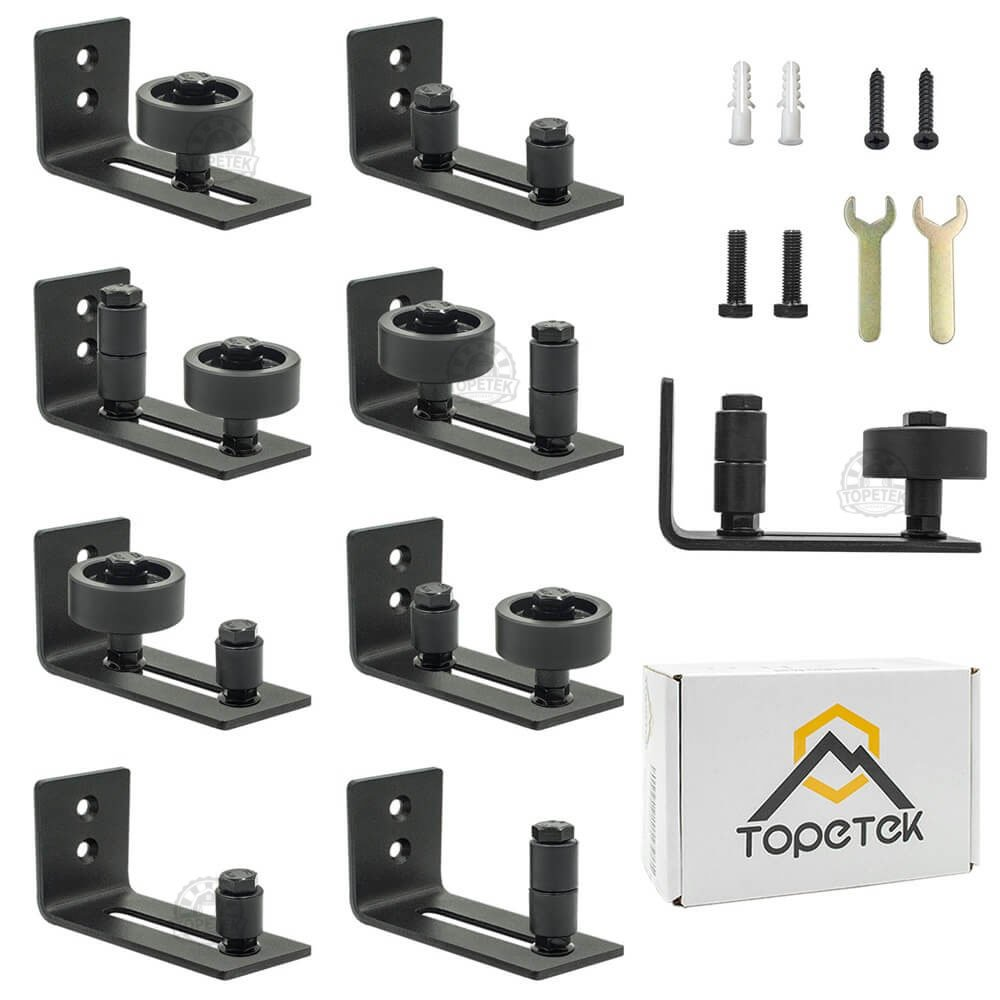 Barn Door Floor Guide Roller - Wall Mount Adjustable Channel Stay Roller with 8 Different Setups Fit for All Sliding Barn Doors, Sits Flush to Floor, Black Powder Coated Bottom Bracket Hardware