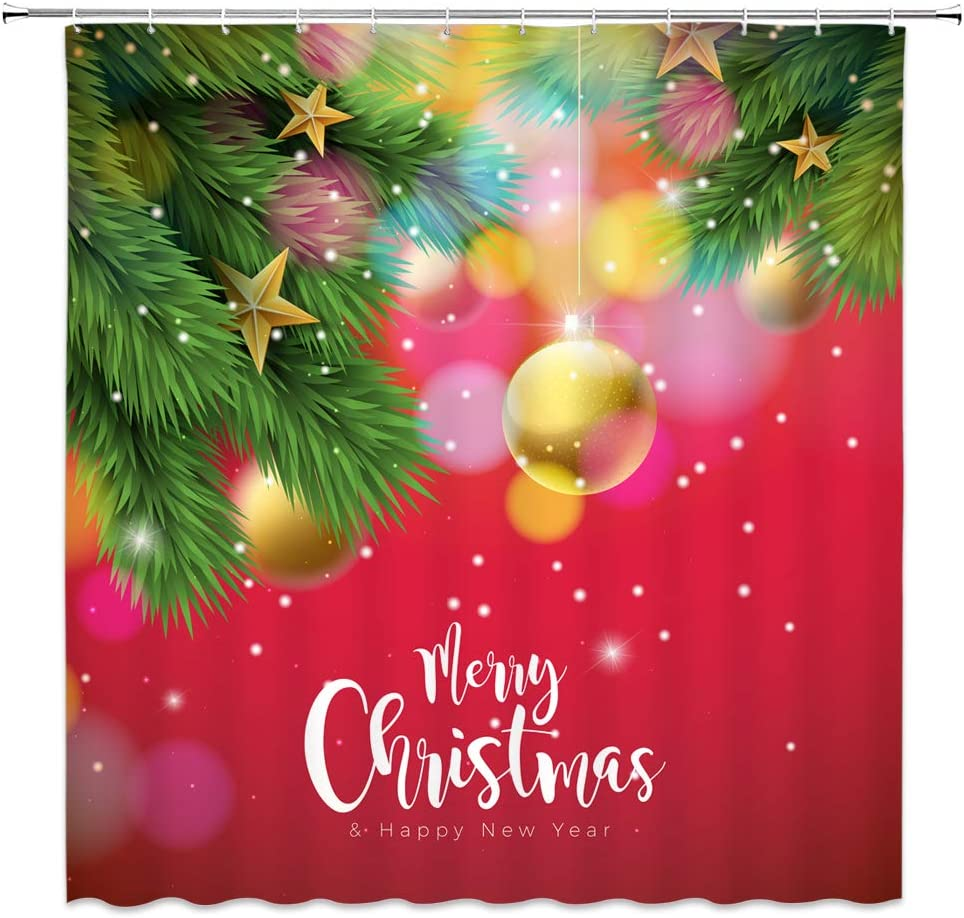 Merry Christmas Shower Curtain,Fantasy Gold Christmas Balls Star Hang on Pine Tree Snowflake Kids Happy New Year Holiday Decor,Fashion Polyester Fabric Xmas Bathroom Curtain Set 70x70IN with Hooks
