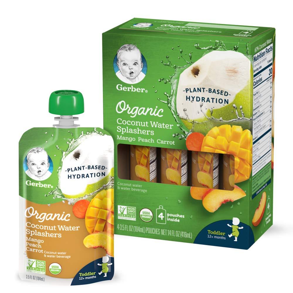Gerber Organic Coconut Water Splashers, Mango Peach Carrot, 3.5 oz Pouch (Pack of 16)