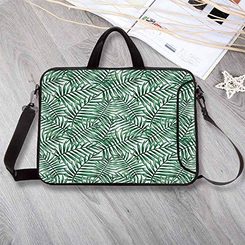 Leaf Stylish Neoprene Laptop Bag,Watercolor Fern Palm Tree Leaves Rainforest Vegetation Freshness Jungle Decorative Laptop Bag for Business Casual or School,14.6