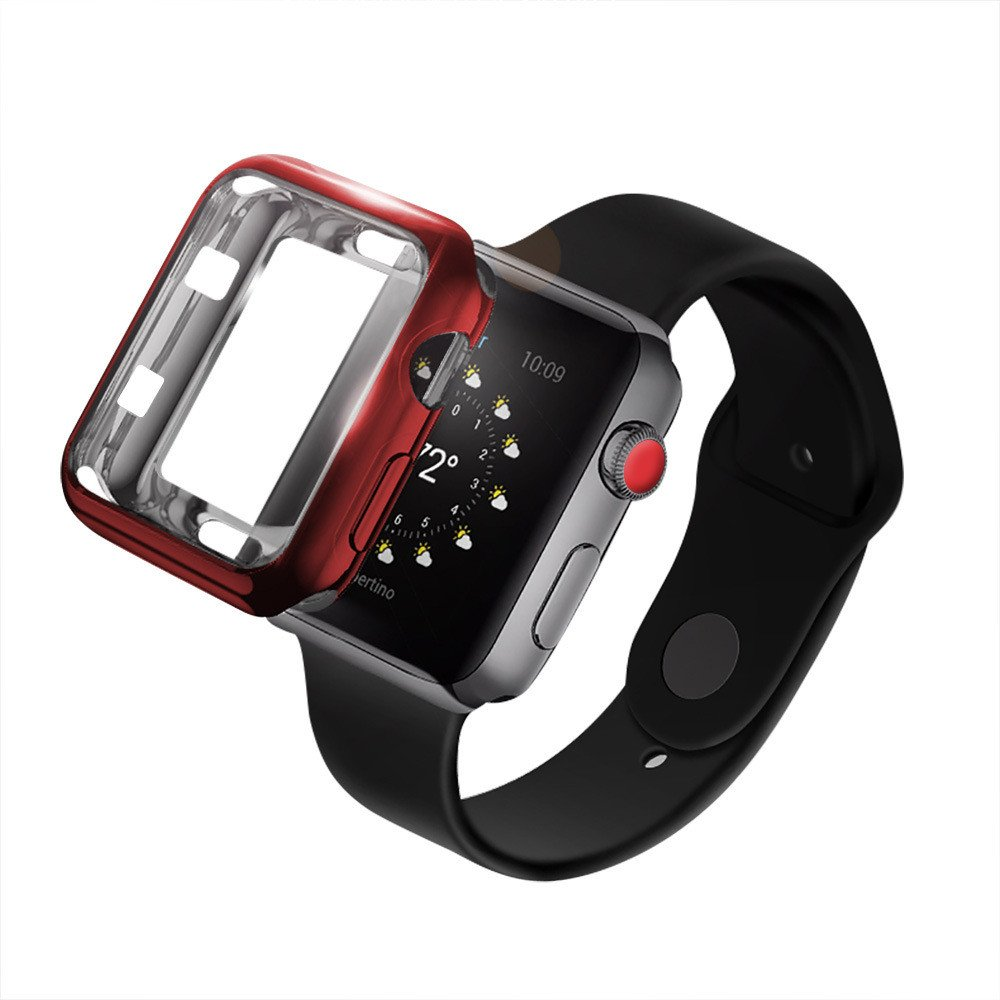 Weite Scratch-Resistant Soft Flexible TPU All-Around Protective Case, High Definition Clear Ultra-Thin Cover Compatible Apple Watch Case 42mm Iwatch Series 2/3 (Red) by Weite (Image #3)