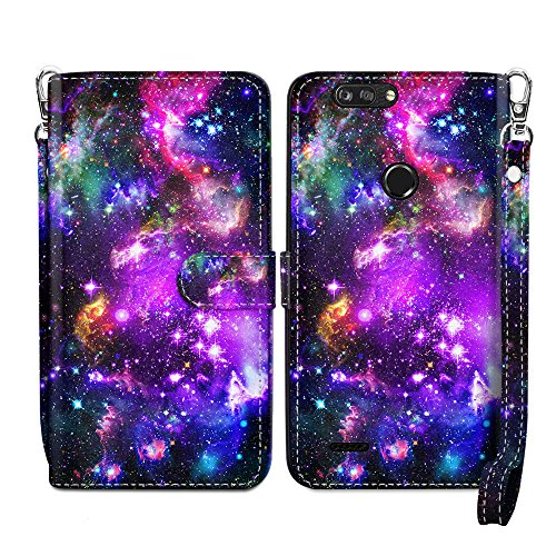 (NEXTKIN Case Compatible with ZTE Blade Z Max Z982/ Sequoia, Leather Dual Wallet TPU Case Cover, Large Pockets Pouch, Multi Card Slots Snap Button Strap For Blade Z Max - Purple Marvel Nebula Galaxy)