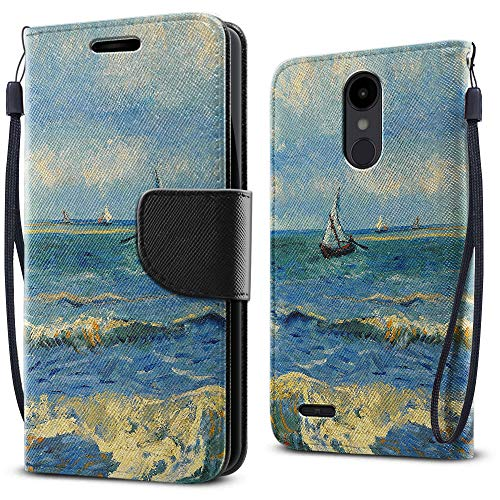 FINCIBO Case Compatible with LG Aristo 2 X210 K8 (2018) 5 inch, Fashionable Flap Pouch Cover Case Card Holder Stand for LG Aristo 2 X210 (NOT FIT K8 2017) - Seascape Near Les Saintes Maries De La Mer