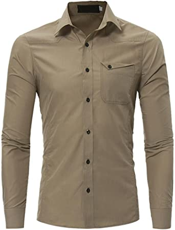 Camisas hombre Slim de manga larga camisas, YanHoo® camisas hombre comprar camisas hombre online Casual para hombre manga larga camisa camisa del negocio (Color Caqui, M): Amazon.es: Iluminación