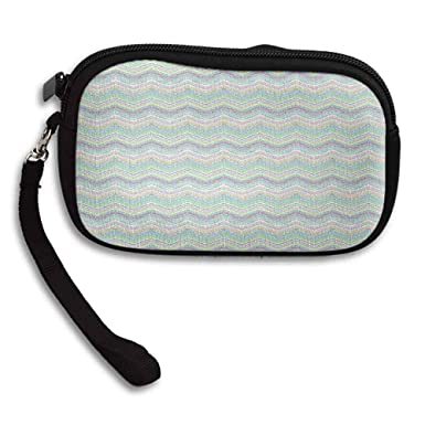 47cb6e02db1c Pastel Coin Purse Hand Painted Style Tribal Design with Zigzag ...