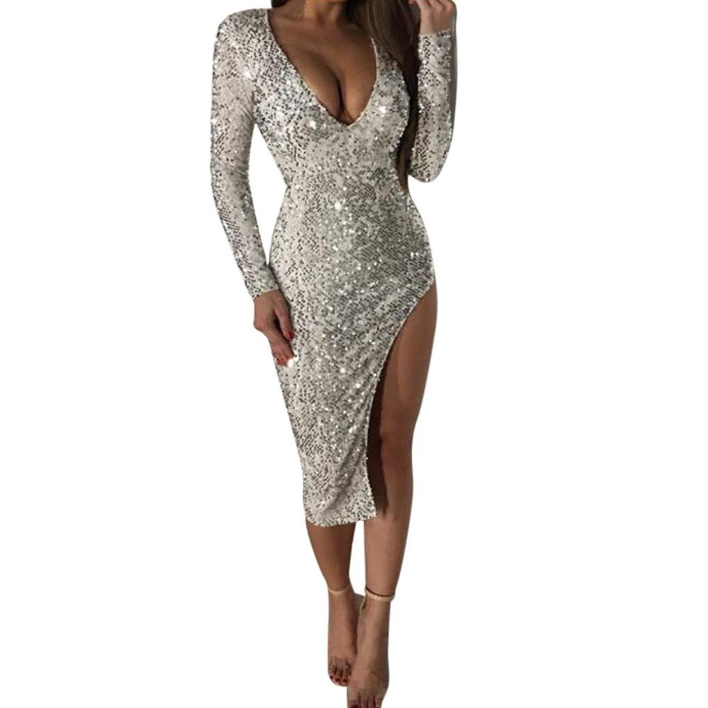 Women V Neck Long Sleeves Split Bodycon Dress Evening Party Cocktail Valentine's Day Gift (L, Silver)