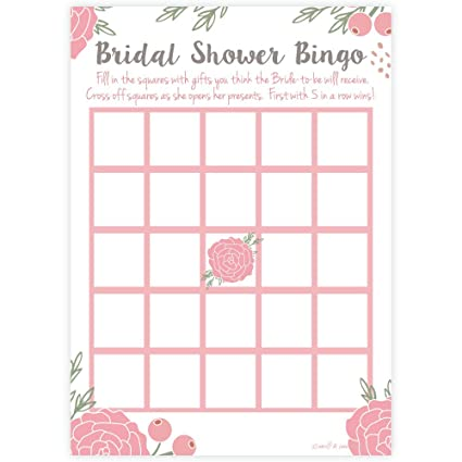 pink blossoms floral bridal shower bingo game cards 50 count