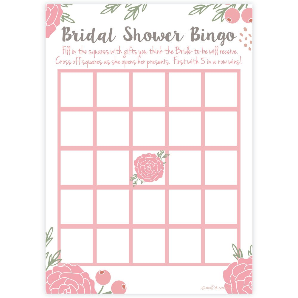 Pink Blossoms Floral Bridal Shower Bingo Game Cards (50 Count) by m&h invites