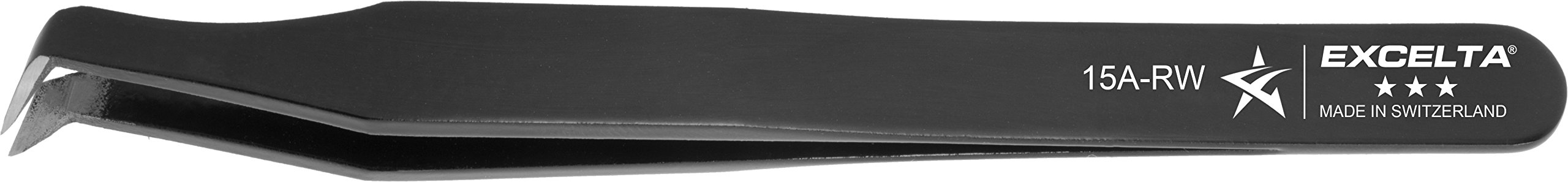 Excelta - 15A-RW - Tweezers - Cutting - Angulated - Three Star - Carbon Steel, 0.1'' Height, 0.39300000000000002'' Wide, 4.5'' Length