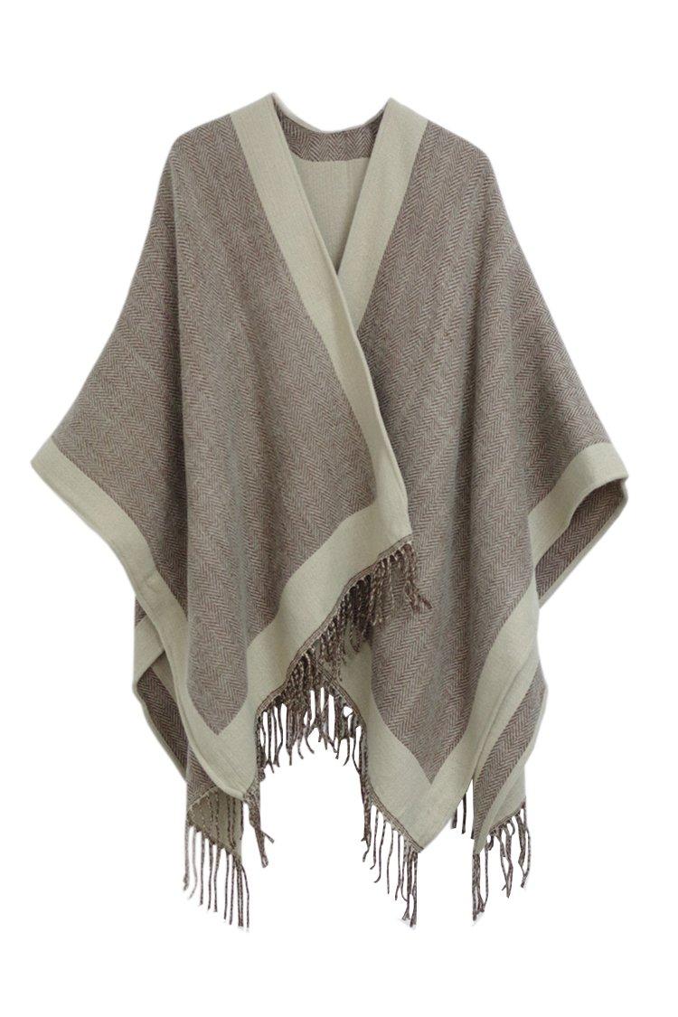 Moly Magnolia Womens Knitted Cashmere Poncho Cape Tassels Shawl Coat Khaki