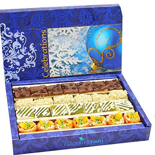 Ghasitaram Gifts Diwali Gifts Sweets- Assorted Box of Kaju Chocolate Barfi,Mango Bite,Kaju roll and Kaju Orange Delight 800 - Kaju Roll
