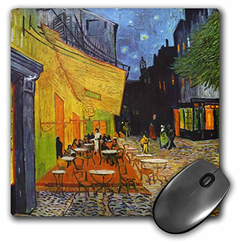 (3dRose LLC 8 x 8 x 0.25 Inches Mouse Pad, Cafe Terrace at Night by Vincent Van Gogh, 1888 Restaurant French Street Painting, Coffeehouse (mp_155653_1))